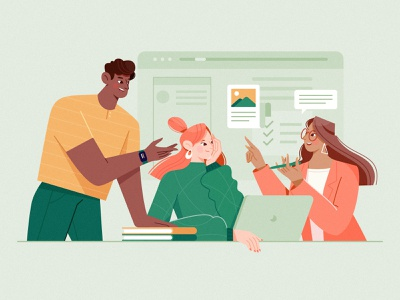 Daily Huddles agile development remote working green meeting communicate recreation discuss web work happy boy computer man girl woman character illustration