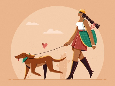 Summer_Cool Girl pet cool fashion walk package hot romance love summer dog design girl woman character illustration