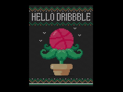 Hello Dribbble plants debut embroidery cards flowerpot ball leaf illustration flower sweater first shot hello  dribbble