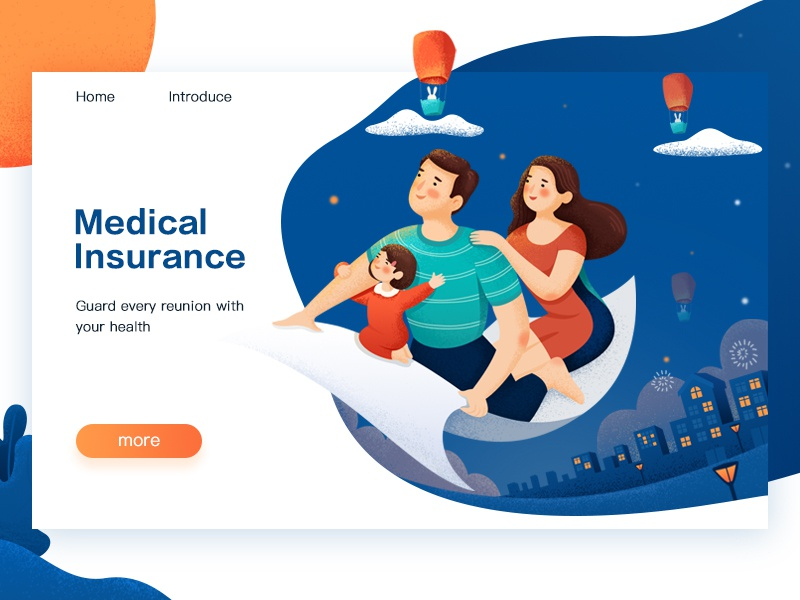 Medical Insurance illustrations house parents the child sky reunion mid-autumn festival moon fly blue family medical insurance