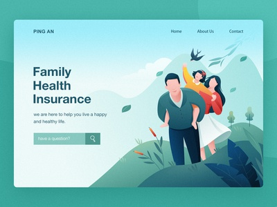 Family Health Insurance leaf mountain illustrations parents family life healthy happy spring green