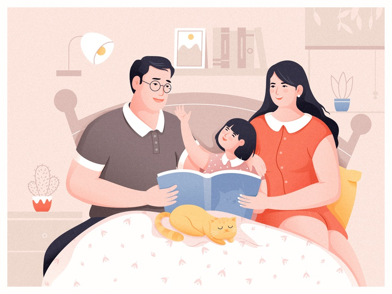 Parent Child Reading Time bedtime story quilt cactus potted the lamp window woman man happiness in bed parent-child happy together bedtime book reading children father mother family