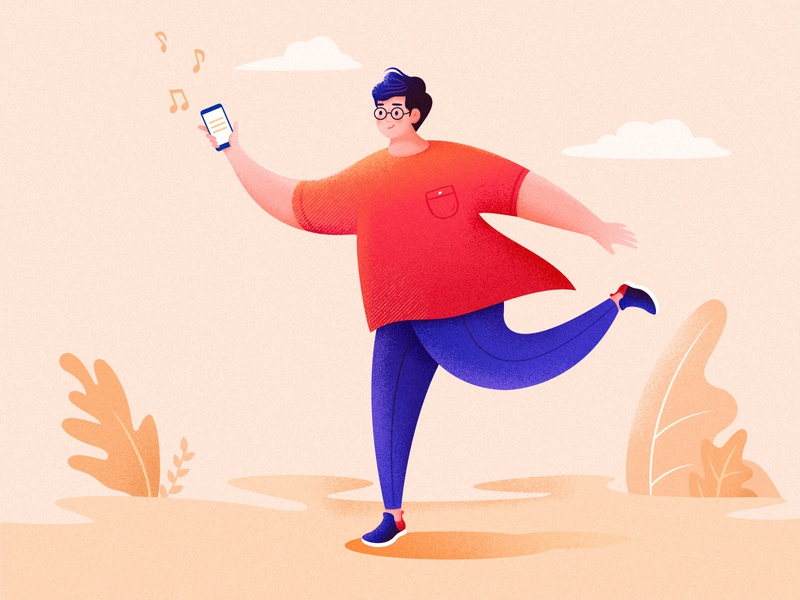 To Relax fat man orange comfortable character outdoors mobile phone happy running illustration music boy relax