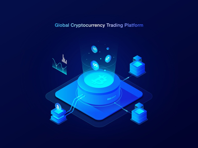 Global Cryptocurrency Trading Platform money homepage website illustration dark light blue bitcoin crypto cryptocurrency