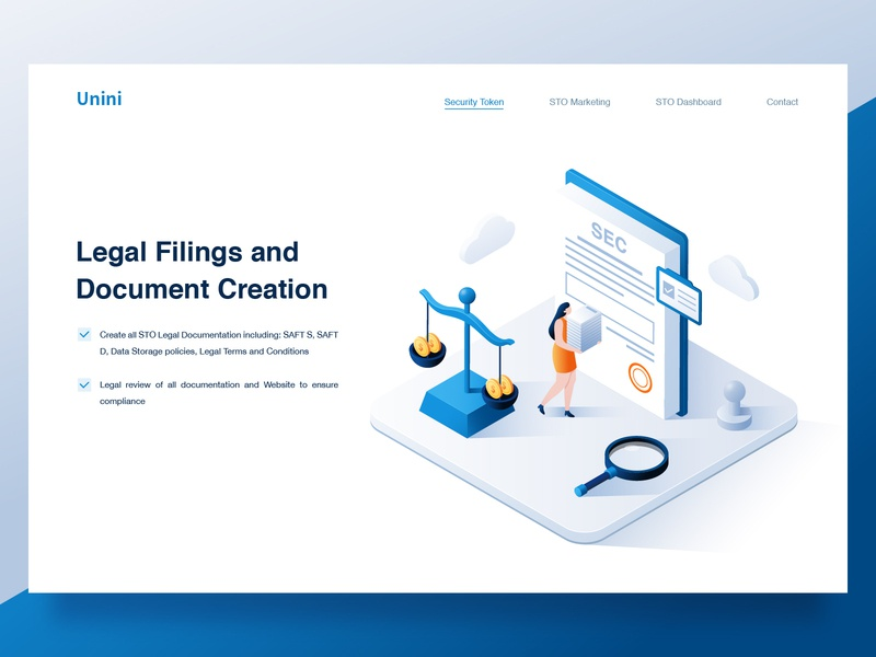 2.5D Illustration_03 ui homepage website science and technology creative design people illustration blue magnifying glass seal balance paper seek coin isometric