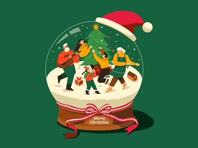 Merry Christmas dance house crystal ball reunion happy joy family christmas trees snow gift illustration holiday music character