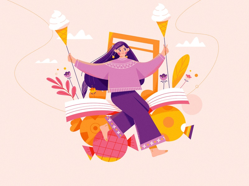 Sweet design illustration flower book music ice cream happy nature candies girl character swing
