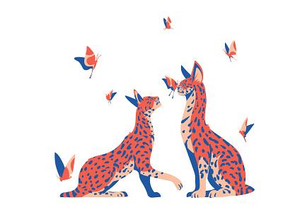 Servals flat illustration flatdesign webdesign illustration art wild pink coral wildlife serval cat vectorart art animal digitalillustration adobeillustrator digitalart drawing vector illustration illustrator