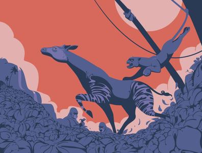 Once Upon a Time in Congo congo tropical jungles vectorartist drawings vector illustration leopard okapi animals vectorart wildlife digitalillustration adobeillustrator digitalart animal vector art drawing illustration illustrator