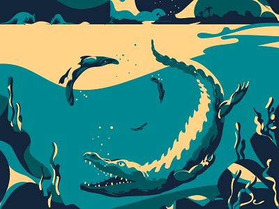 Crocodile and platypus hunt hunting vector art underwater animals nature wildlife australia platypus crocodile artwork design adobeillustrator digitalart animal art vector drawing illustration illustrator