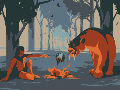 Picnic burn flames cat wildlife burning ecology earth smilodon human tiger vectorart digitalillustration adobeillustrator digitalart animal art vector drawing illustration illustrator