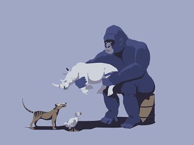 Minus one savetheplanet australia africa wildlife ape ecology gorilla dodo rhino digitalillustration vectorart adobeillustrator digitalart animal vector art drawing illustration illustrator