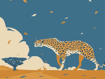 cheetah blue wildlife illustration animal art animals illustrated african animals africa drawingart photoshop wildlife art cat cheetah art poster animals wildlife digitalillustration digitalart animal drawing illustration illustrator