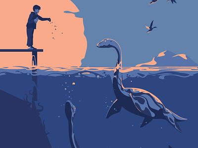 Frightening the ducks (This is a cropped image) graphic vector illustration sunset vectorart dinosaur animals lochness dinosaurs dino plesiosaurs design artwork adobeillustrator digitalart animal vector art drawing illustration illustrator