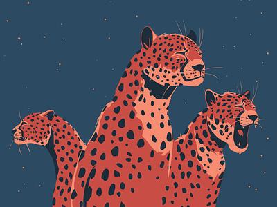 Sleepy hunters graphic design graphics illustration art sketching sketch big cat night african animals cat cheetah wildlife digitalillustration artwork digitalart animal vector art drawing illustration illustrator