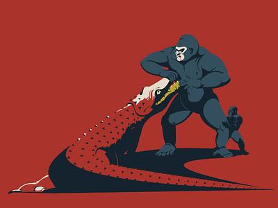 Defender animals illustrated animal art animals ape vector illustration vecor fight crocodile croc gorilla digitalillustration artwork adobeillustrator digitalart animal art vector drawing illustration illustrator