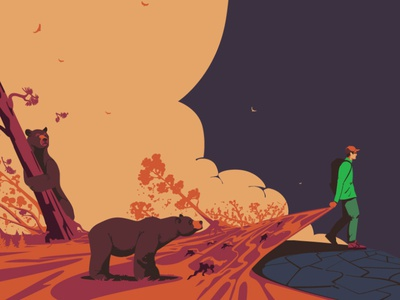 Illustrations for the  Backpacker mag backpacker tourism travel animals illustrated pacific northwest grizzly bear monatana usa bear grizzly wildlife digitalillustration design adobeillustrator digitalart animal vector illustration drawing illustrator