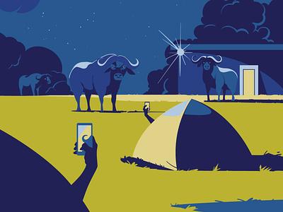 Once upon a time in Ngorongoro wildlife art vector art vector illustration night tanzania africa parkour national ngorongoro buffalo digitalart wildlife vectorart animal adobeillustrator vector art drawing illustration illustrator