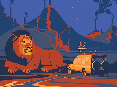 Safari cat animal art drawings vector illustration vector art savetheplanet oil animals ecology lion digitalillustration design digitalart adobeillustrator animal art vector drawing illustration illustrator