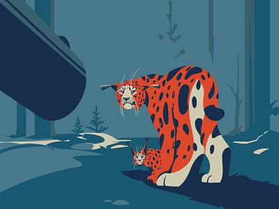 Mother ecology illustration art vector artist hunting graphic cats animals animals illustrated cat lynx wildlife digitalillustration digitalart adobeillustrator art animal vector drawing illustration illustrator