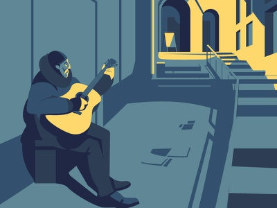 Street musician in Tallinn europe guitar vector art musician street design artwork adobeillustrator digitalart animal vector art drawing illustration illustrator