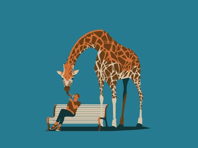 Sweet tooth vintage ice cream african africa animals wildlife giraffe digitalart animal art vector drawing illustration illustrator