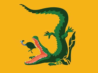 Escape croc cassowary australia crocodile design digitalart animal vector art drawing illustration illustrator