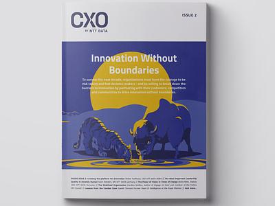 Printed version of CXOMag magazine. printed cover art business lion bison design digitalart print cover cxomag magazine animal art vector drawing illustration illustrator