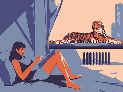 Sunny morning city human sun room tiger digitalart animal vector art drawing illustration illustrator