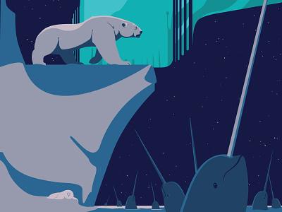 Nordic magic arctic narwhal polar bear digitalart animal vector art drawing illustration illustrator ill graphic design