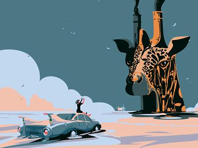 Giraffe digitalillustration reflection steam adobeillustrator ecology wildlife animals illustrated animal vintage greenpeace oil car eco giraffe vector digitalart drawing art illustration illustrator