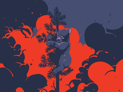 Siberia is on fire artwork vectorart graphics animal digitalart greenpeace ecology digitalillustration adobeillustrator vector art drawing illustration illustrator burning forest russia bear fire siberia