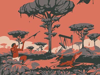 Save Yasuni deforestation travel south america climatechange ecology oil crocodile caiman ecuador design digitalillustration artwork adobeillustrator digitalart animal vector drawing art illustration illustrator