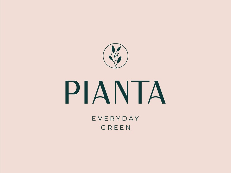 Pianta Flower Shop green flower brand identity branding brand design logo design elegant design logodesign leaves plants logotype graphic flower logo flower shop