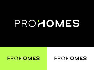 ProHomes architecture building company construction company h logo green geometric typography brand identity graphic design branding logo