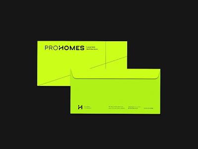 ProHomes green building company construction company geometric logotype brand identity architecture graphic design branding logo
