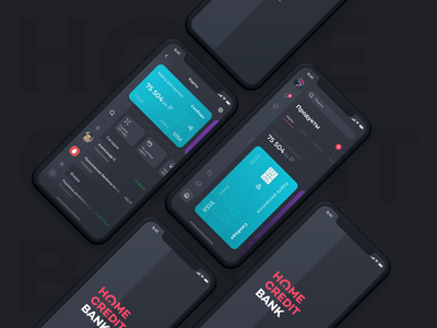 Home Credit Bank Dark Theme sidebar navigation home credit cards ui finance branding banking design bank ux ui ios mobile app