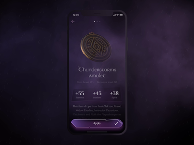 Thunderstorms amulet motion app design app iphone apple ios mobile amulet motion design 3d animation uiux ui world of warcraft