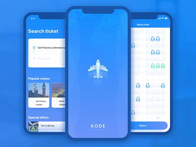 Aircraft mobile app concept seats mobile flight blue avia app ios airline