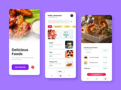 Food App UI Kit food ordering app foodie figma food delivery app chickens ui kit design mobile app food and drink food app ui
