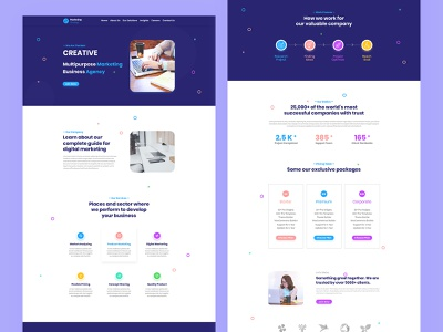 Creative Business Landing Page agency figma template branding landing page psd template ux