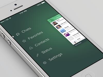 WhatsApp iOS 7 Redesign whatsapp ios ios7 ios 7 redesign side menu blur flat chat ui conversation list
