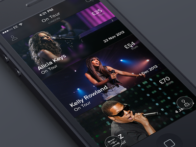 Concerts App (Rapid Prototype) concert app prototype flinto ios 7 ios7 iphone music artist london ticketmaster