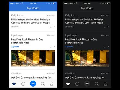 Designer News for iPhone designer news dn redesign ios iphone light dark night