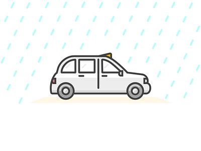 Rainy London :( 🌂 london rain taxi hailo cab black cab illustration drawing
