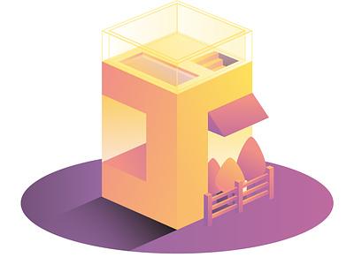 Iso House 1 minimal illustrator vectorart vector illustration