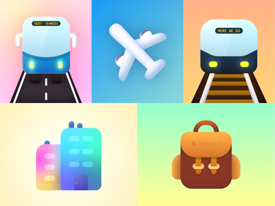 Dreamy Travel colorful sketchapp vector illustration icon