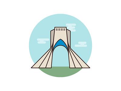 Azadi Tower Tehran Cover design flat icon vector illustration