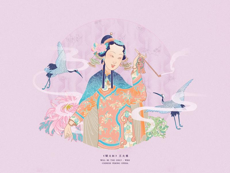 JIANG JIANG CAI-121 design 中国戏曲面孔 中国 china theatrical mask chinese opera faces chinese culture chinese peking opera traditional opera illustration