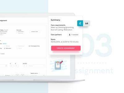 Helpr – Assignment admin dashboard desktop ux ui design layout wizard create form assignment task